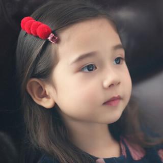 欧育婴儿发带可爱皇冠公主头花新年红色时尚发箍发卡儿童发饰B1017中国红3件套