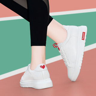 古奇天伦 女士韩版时尚简约百搭学生系带厚底低帮运动休闲小白鞋 9272 红色 34