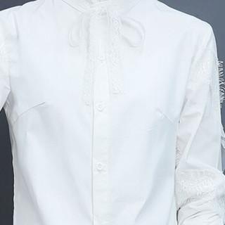 丽乔 2019春季新品打底衫女长袖衬衣潮韩版时尚木耳领蕾丝拼接女装新品打底衬衫 HZ2035-1832 白色 S