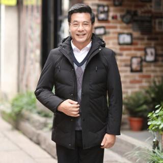 恒源祥羽绒服中老年男士冬季外套休闲爸爸男装纯色带帽上衣 黑色 L(175/92A)