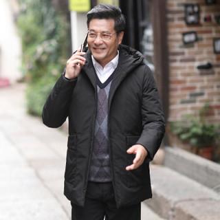 恒源祥羽绒服中老年男装男士2018年冬季加厚新款外套简约百搭上装 黑色 L(175/92A)