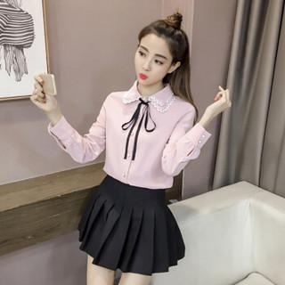 朗悦女装 2019春季新款长袖衬衫女学院风衬衣女学生甜美系带上衣 LWCC191292 粉色 L