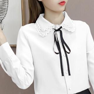 朗悦女装 2019春季新款长袖衬衫女学院风衬衣女学生甜美系带上衣 LWCC191292 白色 M