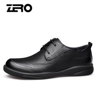 ZERO 男士英伦头层牛皮大头户外工装百搭耐磨商务休闲皮鞋 Z91910 系带黑色 44码