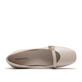 Fuguiniao 富贵鸟 粗跟女士单鞋方头复古时尚舒适套脚F853005C 米白 35