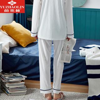 俞兆林睡衣女春秋珊瑚绒开衫长袖秋冬薄款金丝绒家居服女套装 白色抽条 L
