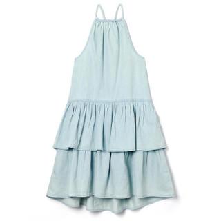 Gap旗舰店 童装女孩棉质天丝吊带分层式牛仔连衣裙 306893 中度靛蓝 160cm(XXL)