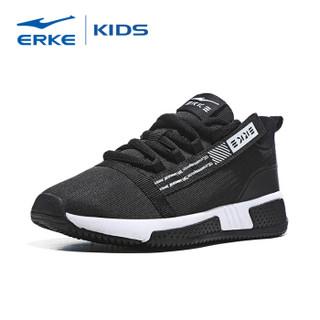 鸿星尔克(ERKE)童鞋男童跑鞋儿童运动鞋中大童舒适绑带慢跑鞋 63119120083 正黑/正白 32码
