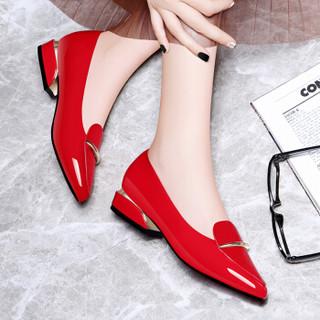 古奇天伦 尖头中口低帮套脚金属装饰防水台女单鞋子 8893 红色 36
