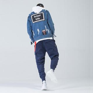 富贵鸟(FUGUINIAO)工装裤2019春季新款潮牌束脚裤嘻哈宽松hiphop小脚裤子 蓝色 2XL