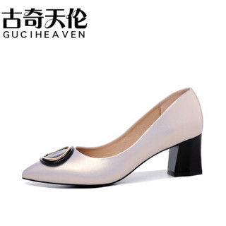 古奇天伦 女士韩版尖头粗跟套脚纯色百搭职业单鞋 9281 米色 36
