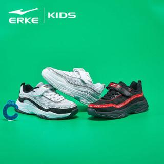 鸿星尔克(ERKE)童鞋男儿童运动鞋大童慢跑鞋 63119120055 正黑/正白 39码
