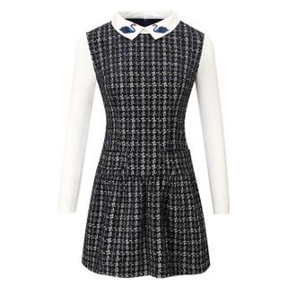 凡淑 冬季新品女装连衣裙长袖保暖修身显瘦加绒打底裙 KF63123FS 深蓝色 XL