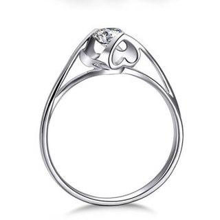鸣钻国际 钻戒女 30分钻戒 PT950铂金白金钻石戒指结婚求婚女戒 情侣钻石对戒女款 天使之吻 F-G/SI 9号