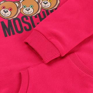 MOSCHINO KIDS 莫斯奇诺 奢侈品童装 男女童玫红色棉氨纶小熊图案长袖卫衣 MUF02M LDA03 51665 2A/2岁/92cm