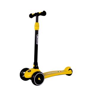 Lecoco 乐卡 带闪光可折叠儿童滑板车 黄色