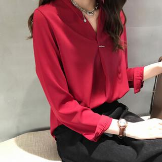 朗悦女装 2019春季新款纯色雪纺长袖衬衫女韩版气质V领衬衣LWCC191212 红色 M