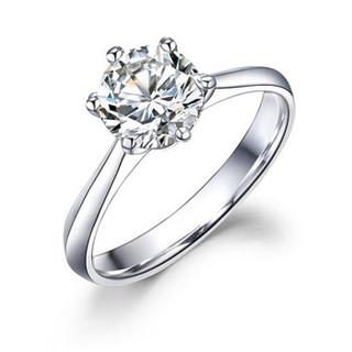 鸣钻国际 六爪皇冠 白18k金钻戒女 钻石戒指结婚求婚女戒 情侣对戒女款 1克拉 F-G/SI 12号