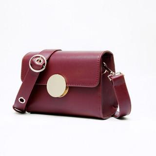 GEYATU 歌雅图 女包大圆磁扣搭盖小方包单肩斜挎包纯色个性小包 MS195  红色