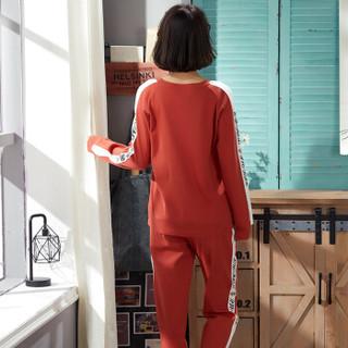 宝娜斯春秋季女士睡衣纯棉长袖韩版甜美可爱时尚可外穿家居服套装 SD418 XL