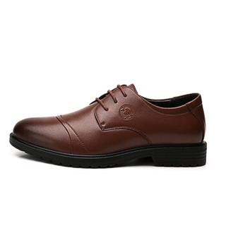 CAMEL 骆驼 男鞋商务休闲头层牛皮时尚简约系带 W912283150 黄棕 43/265码