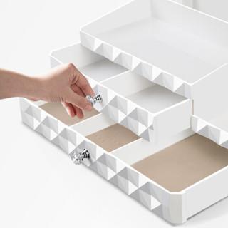 香柚小镇桌面化妆品收纳盒整理盒首饰盒双层加大储物盒 白色菱形格升级款