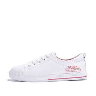 Semir 森马 时尚百搭韩版街拍学生平底简约舒适休闲小白鞋女 129112301 白粉色 38码