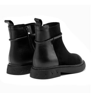 AOKANG 奥康 平跟短筒机车靴短筒靴18493300839黑色39码