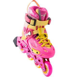 动感(ACTION)溜冰鞋儿童全套装轮滑鞋 平花鞋成人男女可调滑轮鞋 流星粉+头盔+护具+单肩包  L/37-40码