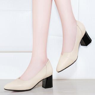 古奇天伦 时尚休闲尖头粗跟低帮套脚纯色女单鞋子 9103 米色 40