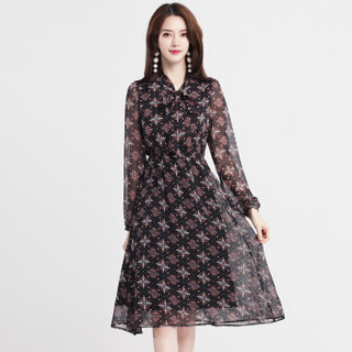 丝柏舍2019春季新款女装小V领时尚长袖印花修身中长款气质优雅连衣裙 S81T1006LA10XL 黑色 XL