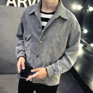 美国苹果 AEMAPE 夹克男2019春装新款灯芯绒外套男士上衣服韩版潮男装上衣工装夹克 灰色 L