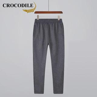 鳄鱼恤(CROCODILE)男休闲长裤 冬季新款运动加绒保暖纯色百搭裤 98751882 深灰(常规) M