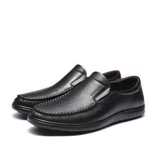 Fuguiniao 富贵鸟 男士皮鞋商务休闲圆头英伦时尚百搭 S994339 黑色 44