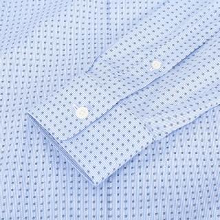 Z ZEGNA 杰尼亚 奢侈品 男士浅蓝色方块图案棉质长袖衬衫 405081 9DFKTM 44 39码