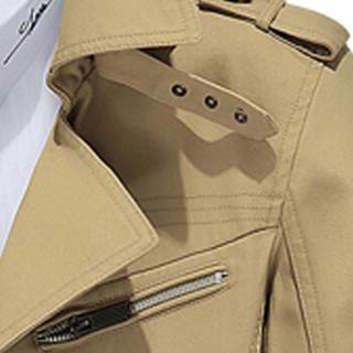 卡帝乐鳄鱼(CARTELO)风衣 男士潮流纯色翻领中长款风衣外套QT4000-5793土黄色3XL