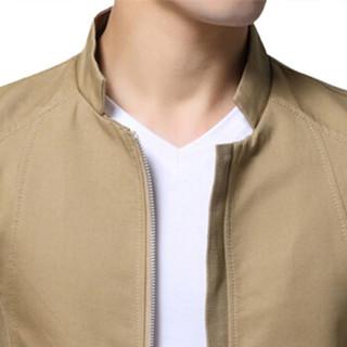 卡帝乐鳄鱼(CARTELO)夹克 男士简约纯色立领潮流大码夹克外套QT2021-780土黄色2XL