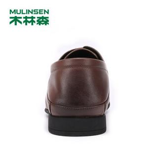 MULINSEN 木林森 商务办公正装头层软牛皮系带尖头时尚休闲男士皮鞋 SS97122 土黄 39码