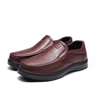Fuguiniao 富贵鸟 男士皮鞋柔软厚底商务休闲套脚 S993071 棕色 44