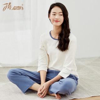 顶瓜瓜睡衣女纯棉春季时尚韩版七分袖可外穿家居服套装t43120jd 白色女款二 160
