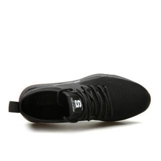 EGCHI 宜驰 运动休闲男士网布慢跑步户外男鞋子 78123 黑色 38