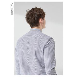 MARKLESS 2019春季新品长袖衬衫男字母刺绣条纹方领衬衣休闲上衣CSA9513M灰白条175/92(L)