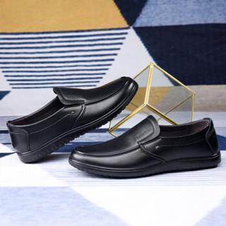 Fuguiniao 富贵鸟 男士商务休闲头层牛皮鞋舒适套脚 S994335 黑色 43