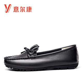 YEARCON 意尔康 女士一脚蹬舒适休闲平底豆豆单鞋女 9172ZB49352W 黑色 40