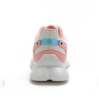 CAMEL 骆驼 女鞋时尚休闲系带撞色透气网面运动跑步 W91304509 白/粉 36/230码