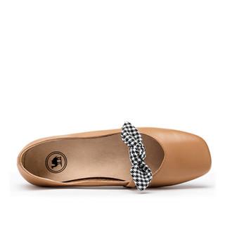 CAMEL 骆驼 单鞋女时尚休闲牛皮蝴蝶结浅口舒适平底 W91504521 杏色 37/235码