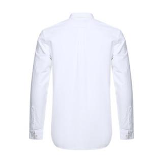 BURBERRY 巴宝莉 男款白色典藏绣标棉质长袖衬衫 80087571 M码