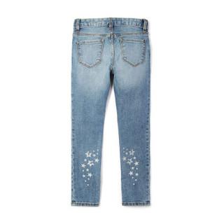 GAP旗舰店 女孩柔软舒适星形图案紧身牛仔裤 261746 中度靛蓝 130cm(8)