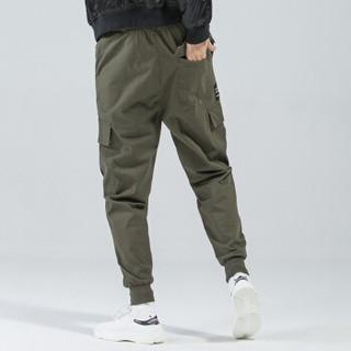 富贵鸟(FUGUINIAO)工装裤2019春季新款潮牌束脚裤嘻哈宽松hiphop小脚裤子 军绿 XL