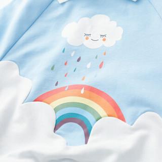 cicie自营童装女童卫衣假两件印花套头衫休闲女孩儿童上衣C91053 蓝色 110/56